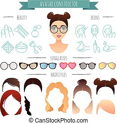 vector avatar constructor. 7 hairstyles, 6 sunglasses, 12 beauty icons