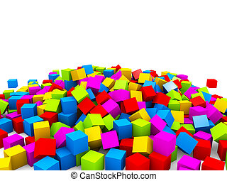 3D colorful cubes heap isolated on white background.