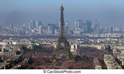 View on city with Tour Eiffel on the center. Paris, France. Time lapse.
