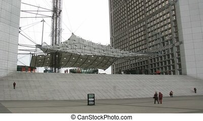 The bottom part of the La Grande Arche, Paris, France Time...