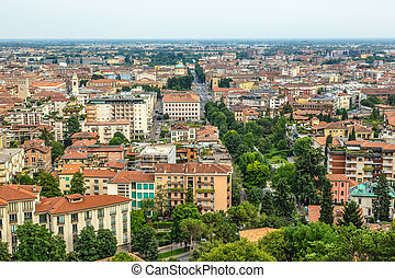 Bergamo city view from above horizontal