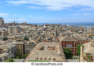 Genoa old city view from above horizontal