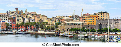 Genoa port sea view with yachts