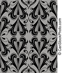 Seamless dark grey vintage vector pattern.
