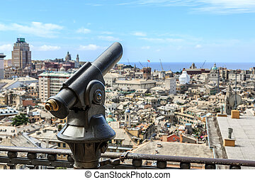Touristic monocular for panorama sea and mountain view