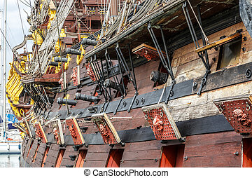 Wooden pirate ship in Genoa - Wooden pirate ship for...