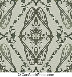 Seamless green vintage floral vector pattern.