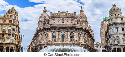 Piazza De Ferrari main square in Genoa Italy