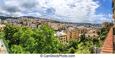 Genoa old city view from the mountain horizontal