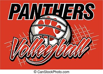 panthers volleyball team design with ball and net for...