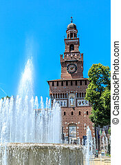 Castello Sforzesco in Milan view with fountain - Castello...