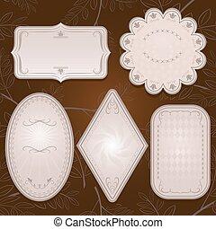 Vintage ornate paper labels vector set.