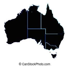 Australia States In Silhouette