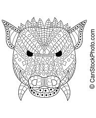 The head wild boar Coloring vector for adults - The head of...