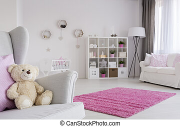 Teddy bear waiting for a friend - Baby girl room in pastel...