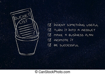 bucket list with innovative product success, thought bubbles...