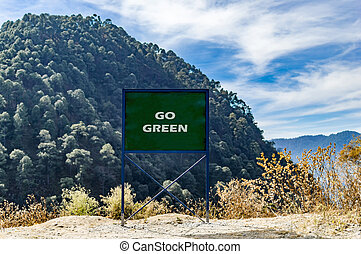 Go green text message on the board.