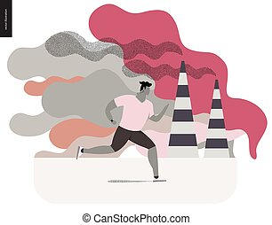 Young man running in smog, gas-polluted air. Flat vector...