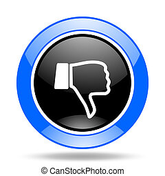 dislike blue and black web glossy round icon - dislike round...