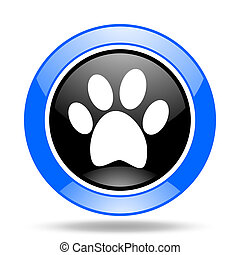 foot blue and black web glossy round icon - foot round...