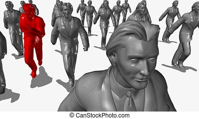 The group of businessmen runs, the leader of red colour is pulled out forward