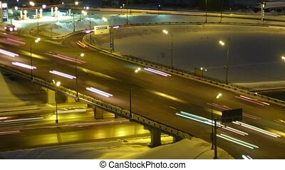 Piece of high-speed highway in the night. Moscow, Russia. Time Lapse.