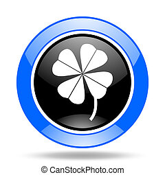 four-leaf clover blue and black web glossy round icon -...