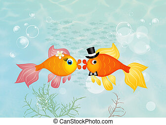 red fish in love - illustration of red fish in love in the...