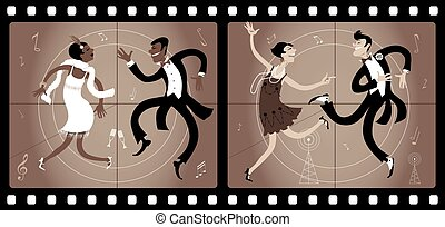 Roaring twenties cinema - Two couples dressed in 1920s style...