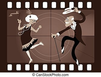 Good old times - Cartoon elderly couple dancing the...