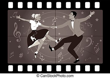 Rock and roll TV - Couple dancing 1950s style rock and roll...