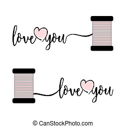 Stylish text I love you with pink heart and thread