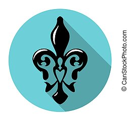 Fleur de lis symbol with long shadow. French lily icon...
