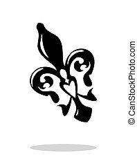 Fleur de lis with drop shadow. Isolated on white background....