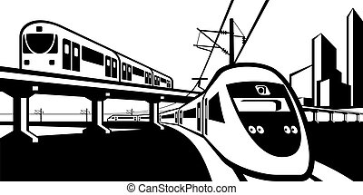 Overground rail transportation - vector illustration