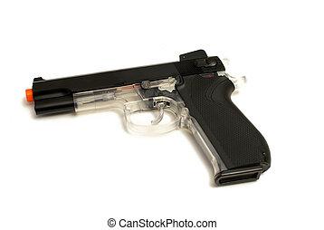 Pellt Gun Pistol - An isolated image of a hand style pellet...