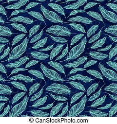 Blue Feather Vector Pattern