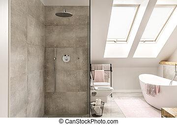 Concrete shower in bathroom - Modern attic bathroom-...