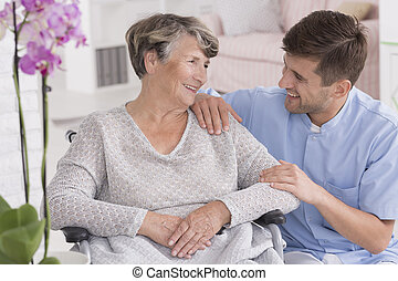 You can rely on me - Picture of a smiling senior woman and...