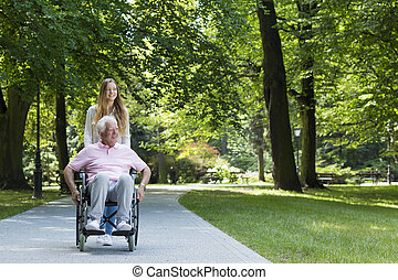 Relax outdoors is the best cure - Image of a senior man on a...