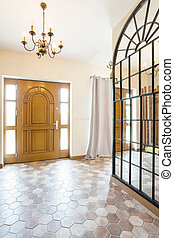 Foyer full od space - Spacious corridor with big mirror on...