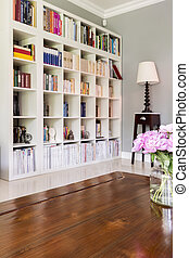 White bookcase at home library - Home library with white...