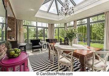 Creative modern sunroom - Glass elegant chandelier in...