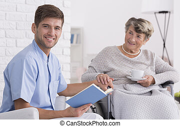 She's like a family to me - Nice male caregiver and senior...