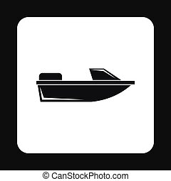 Motorboat icon, simple style - Motorboat icon in simple...
