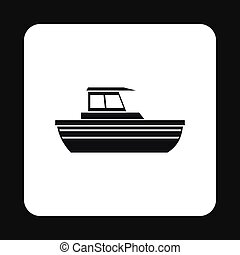 Motorboat with cabin icon, simple style - Motorboat with...