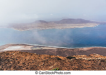 Aerial view of Lanzarote island