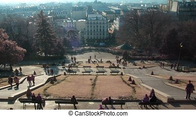 Tourists on Monmartre in Paris, France Sunny day Time lapse...