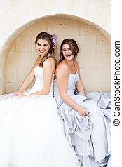Young Women in Gowns and Sitting in an Alcove - Two...