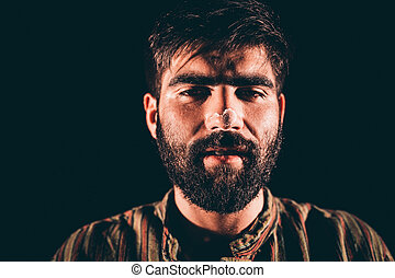 Hallucination - Closeup of a bearded junkie having...
